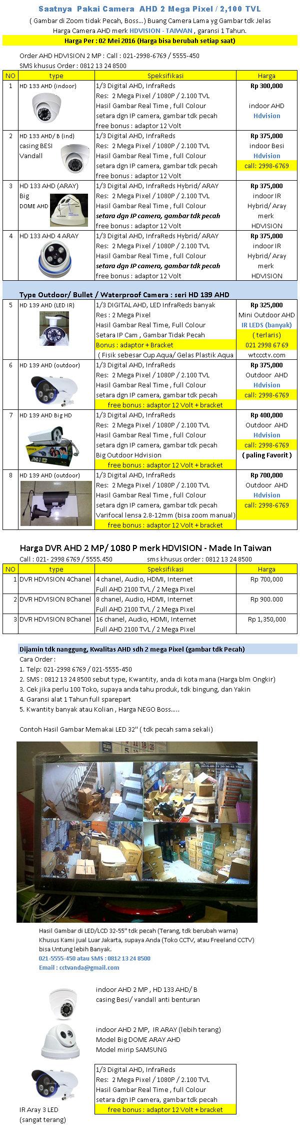 Harga AHD 2 MegaPixel merk HDVision per 02 Mei 2016 Avtech Jakarta