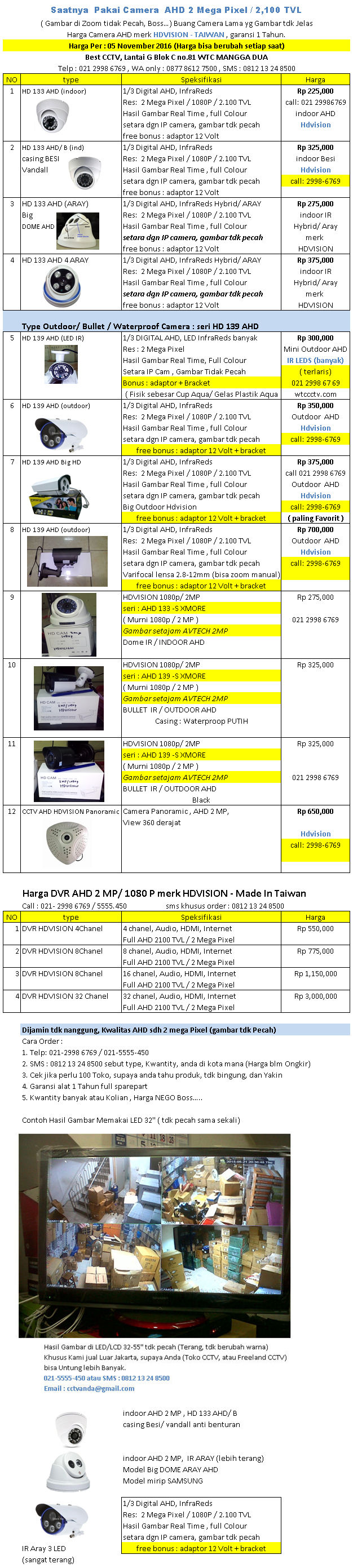 Harga Camera CCTV Merk AHD Per 05 November 2016 - Avtech Camera
